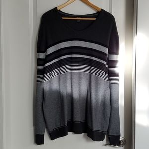 Alfani Pullover Sweater Long Sleeve Grey Stripe